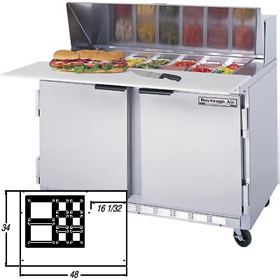 Beverage Air SPE48-12M - Mega Sandwich Prep Table - Two Door 48\