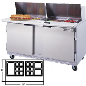 Beverage air spe60 24m mega sandwich prep table two for Table th width not working