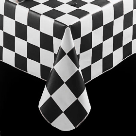 Ordinaire Checkered Flag Pattern Tablecloth, Black
