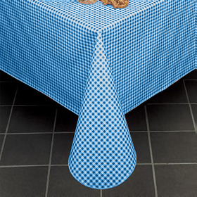 Merveilleux Gingham Check Vinyl Tablecloth, Blue