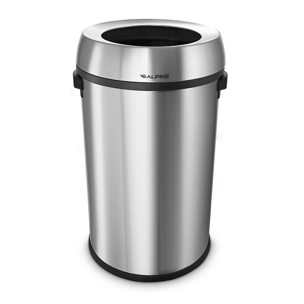 Alpine 470-65L - Stainless Steel Trash Can - Open Top - 17 Gallon
