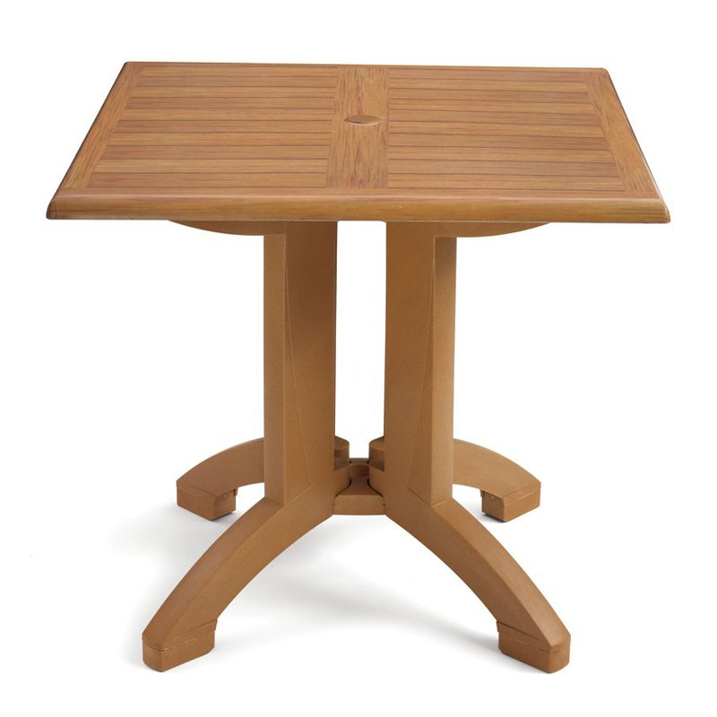 Grosfillex Us240208 Atlanta Tabletop And Base 32 Square Teakwood Style