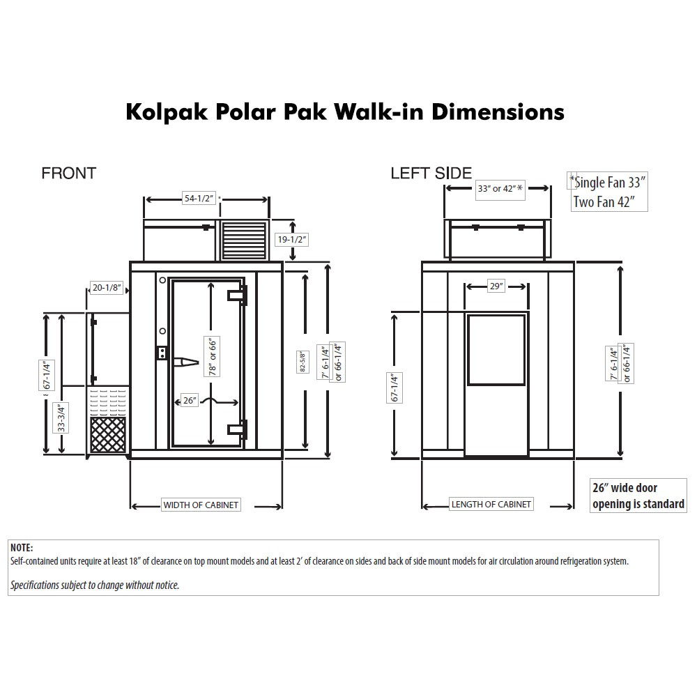 Kolpak P7 0810 F 8 X 10 Polar Pak Walk In Freezer