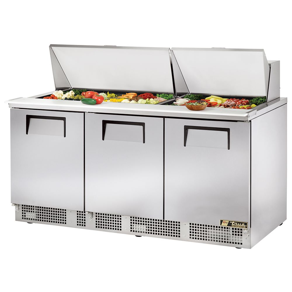 True TFPM Mega Top Sandwich Prep Table Three Door - True refrigerated prep table